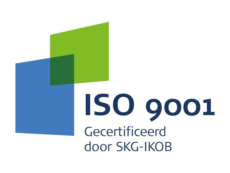 Logo kwaliteit van ISO-9001 gecertificeerd door SKG-IKOB voor kwaliteit en veiligheid