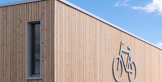 Gevelrenovatie van de fietsenstalling van de TESO veerhaven op Texel.