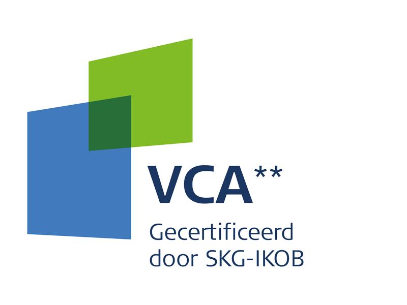 Logo van VCA** gecertificeerd door SKG-IKOB voor kwaliteit en veiligheid